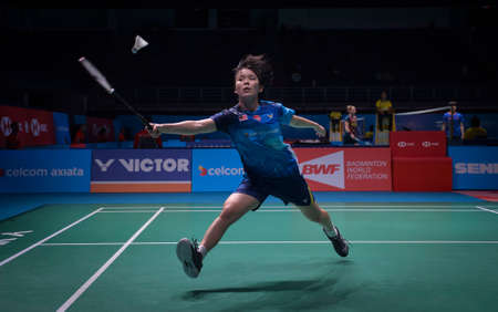 Kuala Lumpur, Malaysia - April 04, 2019 - Goh Jin Wei of Malaysia in action during the Badminton Malaysia Open 2019 at Axiata Arena.