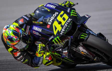 Kuala Lumpur, Malaysia - February 07, 2019 : Yamaha Factory Racing's Italian rider Valentino Rossi during the 2019 MotoGP pre-season testing at the Sepang International Circuit