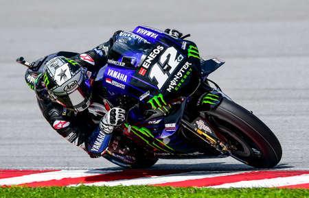 SEPANG, MALAYSIA - NOVEMBER 03, 2019 : Maverick Vi?ales of Spain (12) and Yamaha Factory Racing during the Malaysia Motorcycle Grand Prix (MotoGP) at Sepang International Circuit (SIC).