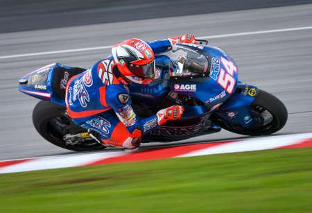 SEPANG, MALAYSIA - NOVEMBER 03, 2018 : Mattia Pasini during the Moto2 Malaysia Motorcycle Grand Prix (MotoGP) at Sepang International Circuit (SIC).