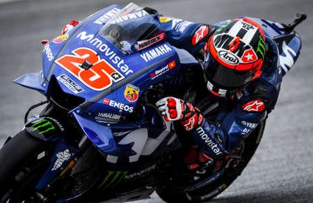 SEPANG, MALAYSIA - NOVEMBER 04, 2018 : Maverick Vinales of Spain and Movistar Yamaha MotoGP during the MotoGP race of the Malaysian Motorcycle Grand Prix at Sepang International Circuit.