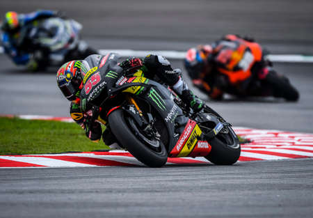 SEPANG, MALAYSIA - NOVEMBER 04, 2018 : Hafizh Syahrin of Malaysia Monster Yamaha Tech 3 in action during the MotoGP race of the Malaysian Motorcycle Grand Prix at Sepang Circuit.