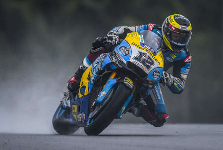 SEPANG, MALAYSIA - NOVEMBER 04, 2018 : Tom Luthi of Switzerland and and Team EG 0,0 Marc VDS during the MotoGP race of the Malaysian Motorcycle Grand Prix at Sepang International Circuit.