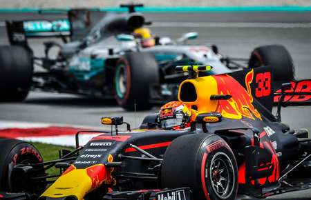 KUALA LUMPUR, MALAYSIA - OCTOBER 1, 2017 : Max Verstappen of the Netherlands driving the Red Bull Racing Red Bull during Malaysia Formula One Grand Prix at Sepang Circuit