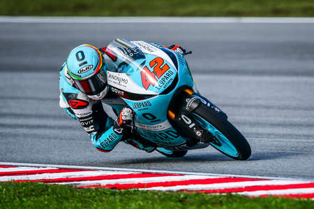 SEPANG, MALAYSIA - NOVEMBER 03, 2019 : Marcos Ramirez of Spain and Leopard Racing (42) during the Moto3 Malaysia Motorcycle Grand Prix (MotoGP) at Sepang International Circuit (SIC). Editorial