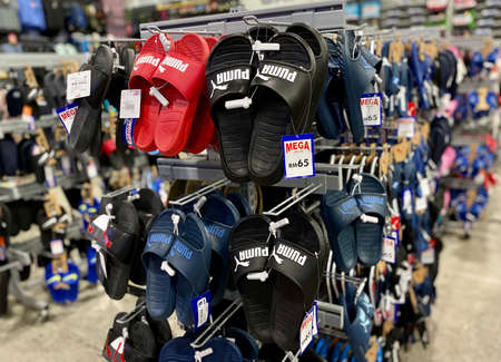 Kuala Lumpur, Malaysia - May 18, 2020 : Close up of Puma  slipper on display in local sports outlet