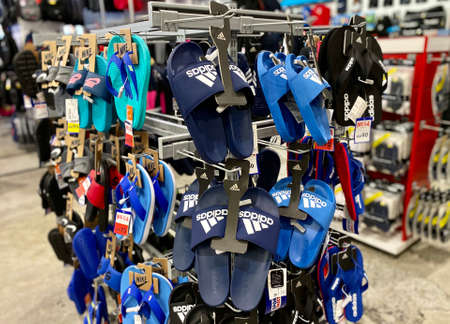 Kuala Lumpur, Malaysia - May 18, 2020 : Close up of women Adidas slipper on display in local sports outlet