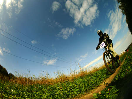 dirt road recreation: a mountain biker