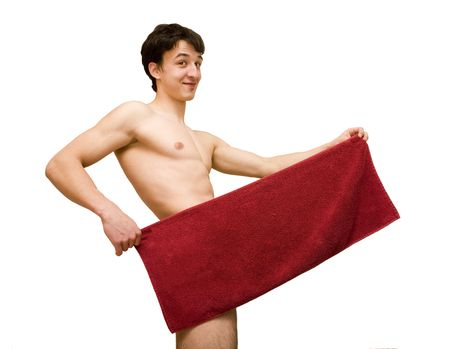 nude young man with a towel Stock Photo