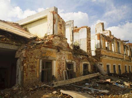 the destruction houses Stock Photo