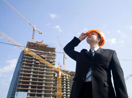 foreman looking to construction building Stock Photo - 1104148