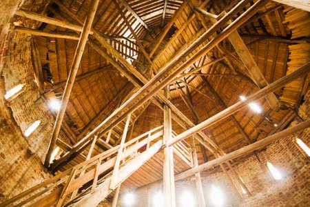 wood interior of old Borisoglebskiy Kremlins tower. Stock Photo