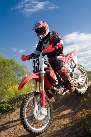 motocross rider on a start Stock Photo