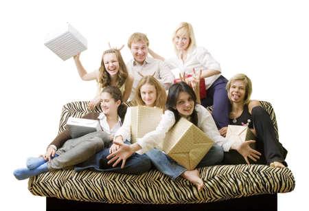 seven friend play tricks on the sofa photo