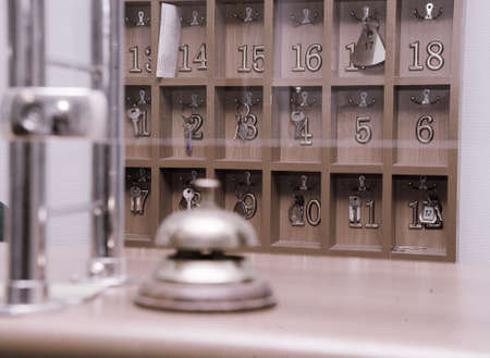 hotel reception: Keys box and reception bell