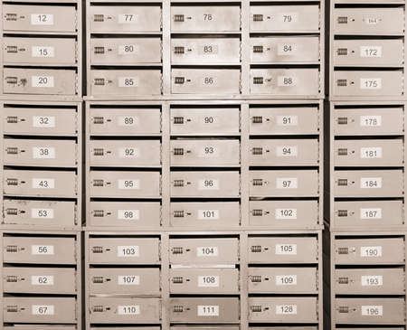 deposit slip: many personal mailboxes Stock Photo