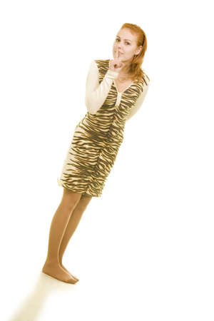 girl in tiger dress asks to be silent isolated Stock Photo - 3448851