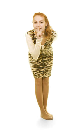 girl in tiger dress asks to be silent Stock Photo - 3448850