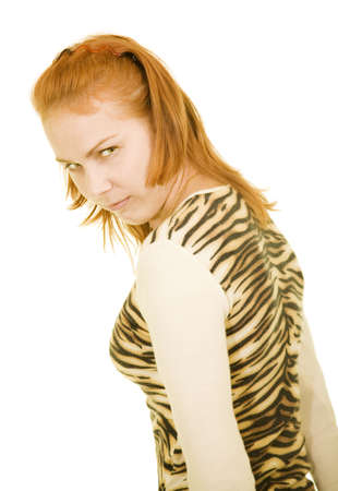 anger girl in tiger dress photo