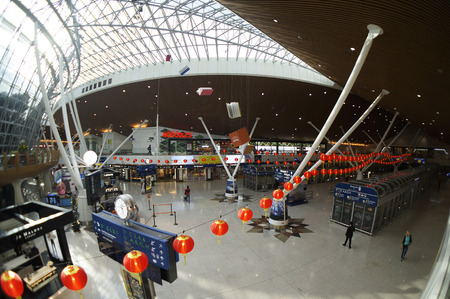 lift gate: Beautiful Red Lantern decoration for Chinese New Year Celebration at Airport Kuala Lumpur International Airport