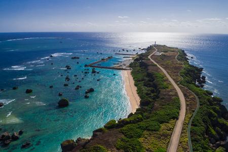 리조트 섬 오키나와 미야코 공중 스톡 콘텐츠