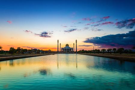 islamic scenery: Sunset Islamic Mosque