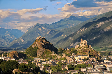 valais: Sion in sunset light