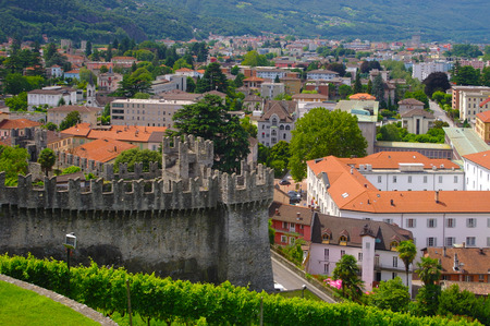 Scenic view of Bellinzona, Ticino, Switzarland with Murata - old city fortifications - city wall on foreground