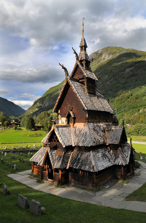Borgund stave wooden church in Western Norway Stock Photo