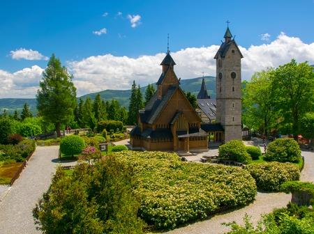 Vang medieval norwegian wooden church in Karpacz, Lower Silesia, Poland, Giant Mountains Banco de Imagens
