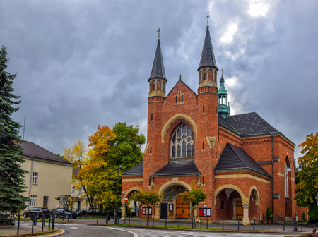 Parish church of St. Kazimierz in Nowy Sacz, Poland at autumn day