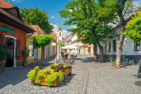 Scenic view of old town of Szentendre, Hungary at sunny summer day. Szentendre is a town of arts and popular destination for tourists staying in Budapest Stock fotó