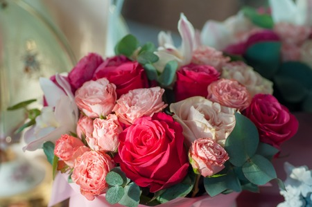 Bridal bouquet of red, pink and white roses. Standard-Bild
