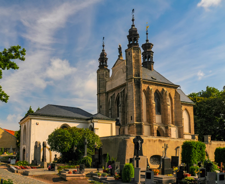 Exterior of the Sedlec Ossuary - Kostnice Sedlec - in Kutna Hora, Czech Republic at sunny summer day. World famous gothic chapel whose interior is decorated with human bones.
