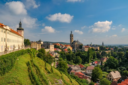 Scenic view of historic centre of Kutna Hora town, Czech Republic, Europe at sunny summer day. Jesuit College and St. James church.