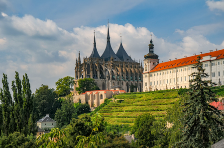 Scenic view of historic centre of Kutna Hora town, Czech Republic, Europe at sunny summer day. Cathedral of St Barbara and Jesuit College.