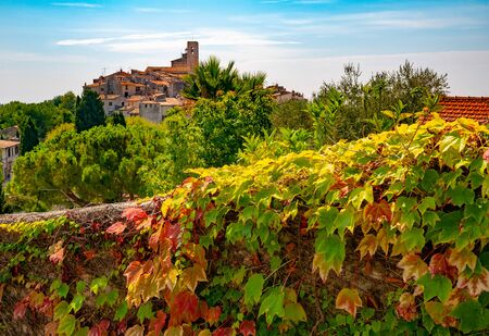 Red and green grape leaves and panoramic view of Saint-Paul-de-Vence town in Provence, France jn background. It is a popular tourist attraction known as town of arts
