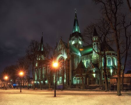Beautiful nightscape of neo-gothic Church of Sts. Olha and Elizabeth in Lviv, Ukraine. The church was built in 1903-1911 and dedicated to memory of Empress Elisabeth of Austria - nicknamed 'Sisi'