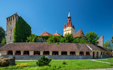 Scenic view Lutheran fortified church and evangelical cemetery in Cristian, Brasov County, Romania Stock Photo