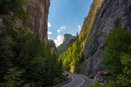 Bicaz Gorge in the north-east of Romania. One of the most spectacular roads in Carpathian Mountains.