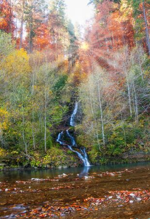 Autumn scenery with waterfall in Carpathian mountains, Ukraine at sunrise.