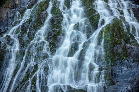 Water streams of Balea Cascada waterfall in Fagaras mountains near famous Transfagarasan road. Rocky waterfall in the Carpathians, Transylvania, Romania. Natural background Stockfoto
