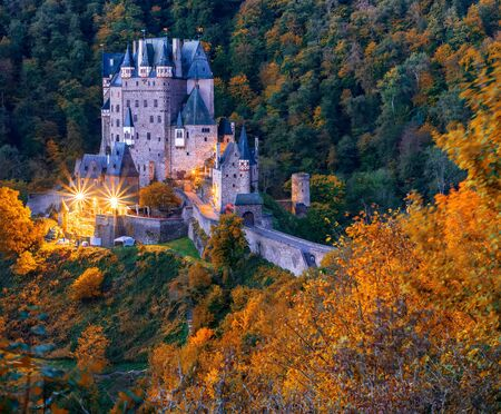 Picturesque autumn scenery of Burg Eltz castle at twilight. Burg Eltz is a popular travel destination in Rhineland-Palatinate, Germany