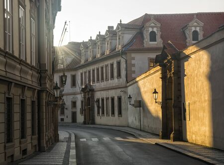 Empty historical street at the morning in old city of Prague