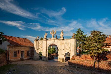 Scenic view of First Gates of Alba Carolina Citadel under picturesque sky at sunny summer day, Alba Iulia, Transylvania, Romania