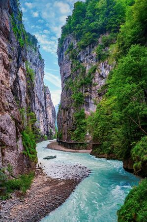 Stunning view inside the Aare Gorge in Hasli valley near Meiringen, Canton Bern, Switzerland. Aare Gorge (Aareschlucht) is popular tourist attraction in Berner Oberland