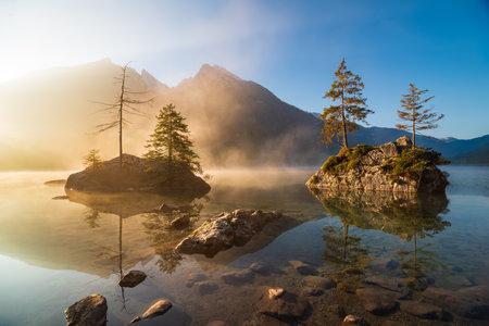 Amazing sunrise on Hintersee lake at autumn morning