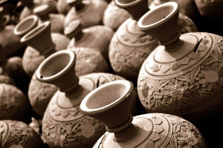 handmade arabic pots made of clay in a bazaar in the middle east