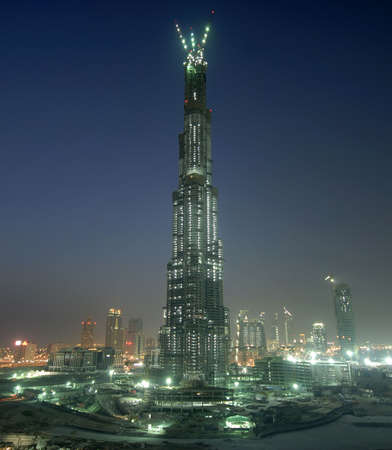 construction of the tallest building in the world, Burj Dubai night view