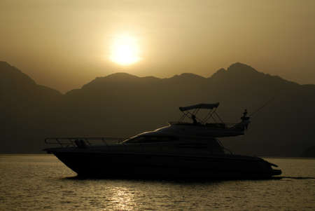 musandam: Yacht Silhouette In The Mountains